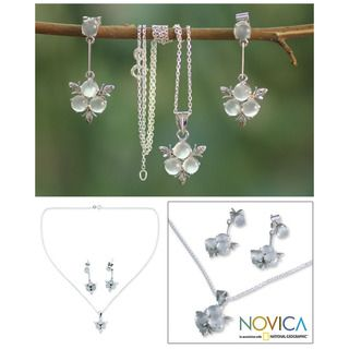 Sterling Silver Silver Clover Moonstone Jewelry Set (India