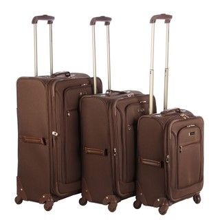 London Fog Sheffield Chocolate Lightweight 3 piece Spinner Luggage Set