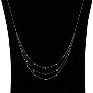 Two tone Sterling Silver 18 inch 3 tier Petite Ball Necklace