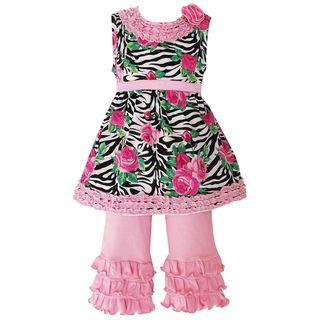 AnnLoren Girls Sweet Zebra Rose Ruffled Capri Outfit