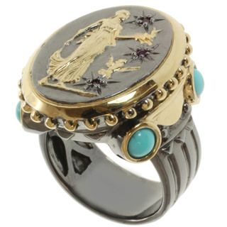 Michael Valitutti Two tone Turquoise and Ruby Ring