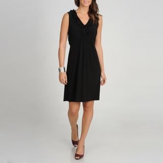 Tiana B. Womens Black Ruffled Neckline Dress