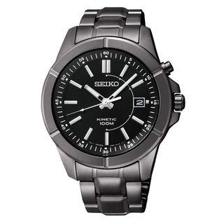 Seiko Mens Kinetic Black Ion Automatic Watch