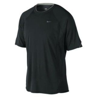 Nike Mens Dri fit UV SS Miler Running T Shirt Black Size