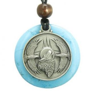 Amulet Howling Wolf Eagles Magic Medallion Circle