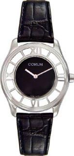 Corum Mens Black Leather Strap Watch