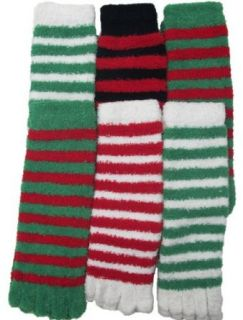 Fuzzy Toe Socks, Christmas Socks, Striped, 6 Pair, Size 9