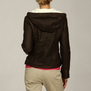Bernardo Womens Dark Brown Faux Fur lined Hood Jacket FINAL SALE