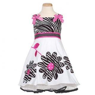Rare Editions Little Girls Black Zebra Flower Dress 6
