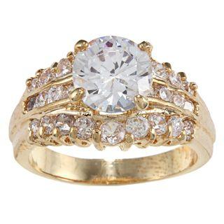 High polish Gold Wedding Set with Clear Round cut Cubic Zirconia Stone