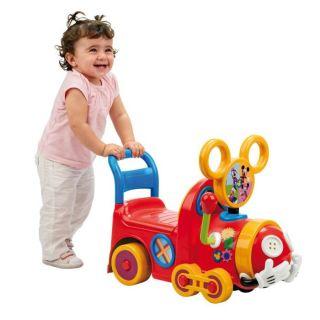 PORTEUR POUSSEUR DRAISIENNE TRICYCLE Trotteur Train Mickey Mouse