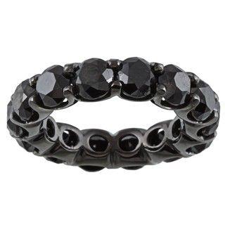 14k Gold and Black Rhodium 9 1/10ct TDW Black Diamond Eternity Band