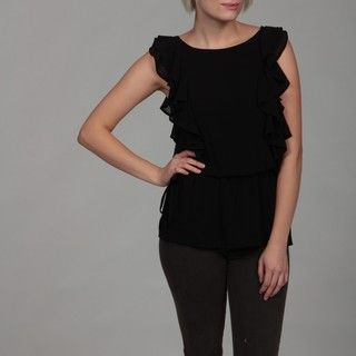 Dylan & Rose Juniors Black Ruffle Cinched Top
