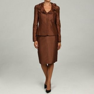 John Meyer Womens Coca Ruffle Skirt Suit