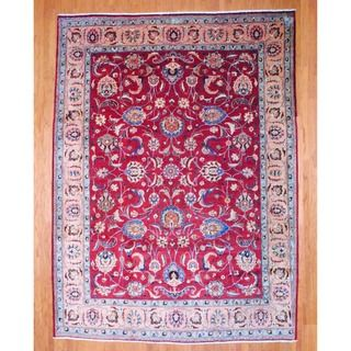 Persian Hand knotted Tabriz Red/ Salmon Wool Rug (99 x 133