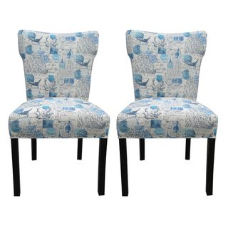 Bella Primary Blue Upholstered Dinning Chairs (Set of 2)