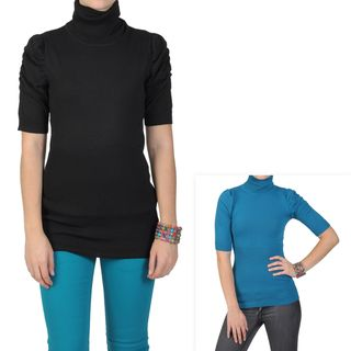 Journee Collection Juniors Ruched Sleeve Ribbed Turtleneck Sweater