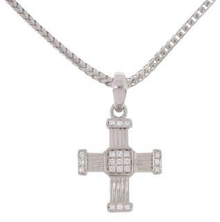 Di Modolo 18 kt White Gold 1/10 ct TW Diamond Cross Pendant