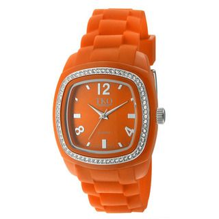 TKO Orlogi Womens Tivoli Crystal Orange Rubber Strap Watch