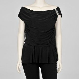 Onyx Nite Womens Plus size Draped Black Evening Top