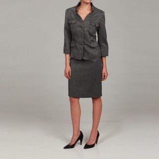 Sweet Womens Black/ Ivory Safari Jacket Skirt Suit