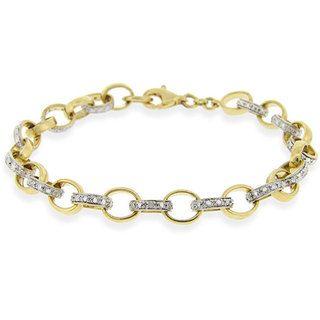 DB Designs 18k Gold over Sterling Silver Diamond Rolo Link Bracelet