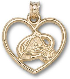 Colorado Avalanche Logo Heart Sterling Silver Charm
