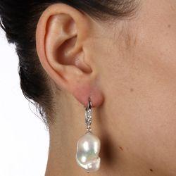 White Baroque Freshwater Pearl Earrings (16 18 mm)