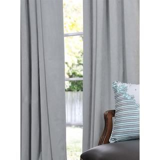 Signature Grey Blue Velvet 84 inch Blackout Curtain Panel