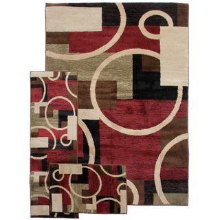 Temptation Geometric Shapes Multi 3 piece Rug Set