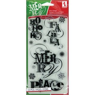 Inkadinkado Christmas Sentiments 4x8 inch Sheet Christmas Clear