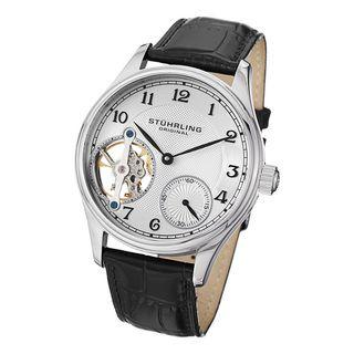Stuhrling Original Mens Cuvette Mechanical Leather Strap Watch
