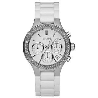 DKNY Womens White Ceramic Bracelet Chronograph Glitz Watch