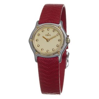 Ebel Womens Sport Classic Two Tone and Leather Diamond Watch