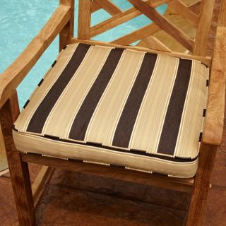 Clara Brown/ Gold 20 inch Square Outdoor Sunbrella Chair Cushion