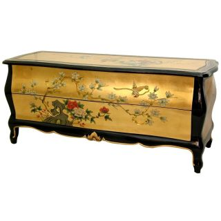 Wooden 20 inch Black/ Gold Leaf TV Cabinet (China)