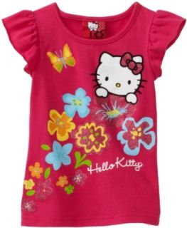 Hello Kitty Girls 2 6x Flutter Sleeve Flowers Tee, Pink