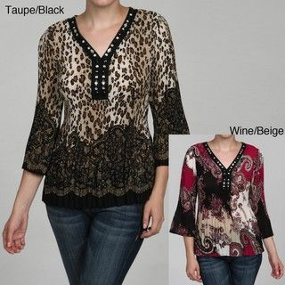 Signature by Larry Levine Womens Embellished Top