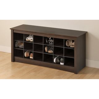 Everett Espresso Shoe Storage Cubbie Bench