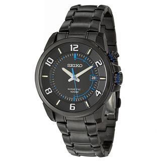 Seiko Mens Kinetic Black Stainless Steel Watch