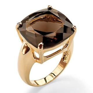 Angelina DAndrea 14k Goldplated Faceted Smokey Quartz Ring