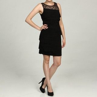 Nine West Womens Black Lace Ruffle Dress