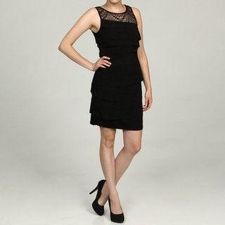 Nine West Womens Black Lace Ruffle Dress