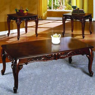 piece Rich Cherry Finish Cocktail End Tables