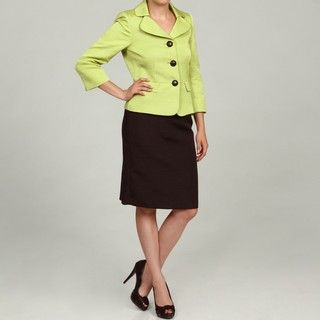 Tahari Womens Glam Green/ Black 3 button Skirt Suit