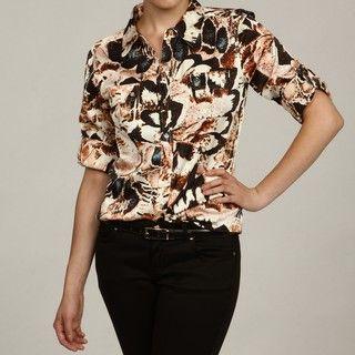 Calvin Klein Womens Ivory/ Multi 3/4 sleeve Blouse