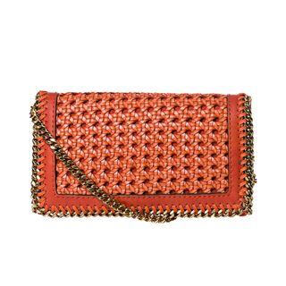 Stella McCartney Orange Woven Faux Leather Cross body Bag