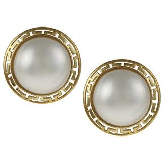 Gold over Silver Mabe Pearl Greek Key Border Earrings (14 mm