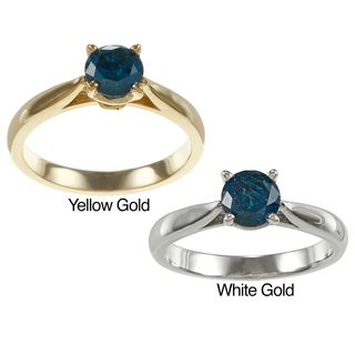 14k Gold 3/4ct TDW Blue Diamond Solitaire Ring