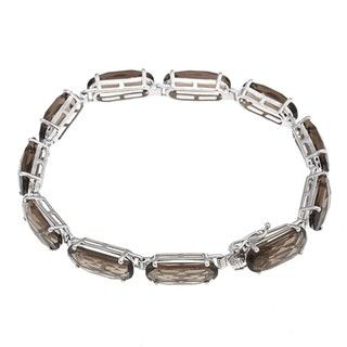 Oro Leoni Sterling Silver Smokey Quartz Link Bracelet